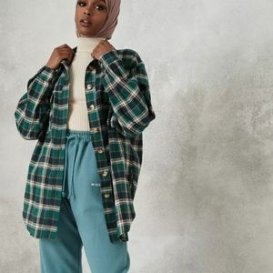 Tops - Green Plaid Extreme Oversized Shirt